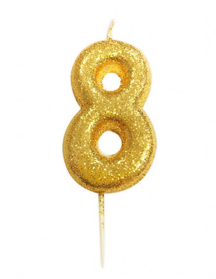Number 8 Gold Glitter Candle